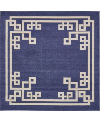 Anzu Anz3 Navy Blue 8' x 8' Square Area Rug