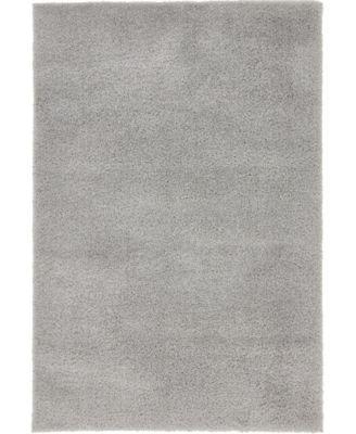 Salon Solid Shag Sss1 Light Gray 4' x 6' Area Rug