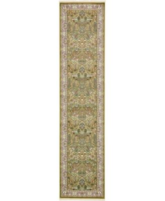 Zara Zar7 Green 3' x 13' Runner Area Rug