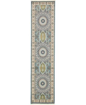 Zara Zar9 Blue 3' x 13' Runner Area Rug