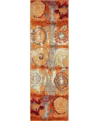 "Newwolf New3 Orange 2' 2"" x 6' 7"" Runner Area Rug"