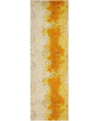 """Newwolf New4 Yellow 2' 2"""" x 6' 7"""" Runner Area Rug"""
