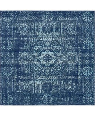 "Wisdom Wis3 Navy Blue 8' 4"" x 8' 4"" Square Area Rug"