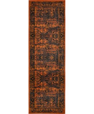 "Linport Lin1 Terracotta/Black 3' x 9' 10"" Runner Area Rug"