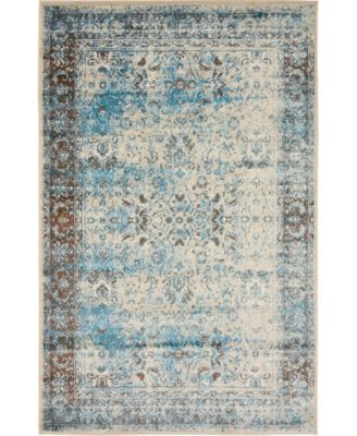 Linport Lin1 Ivory/Turquoise 5' x 8' Area Rug