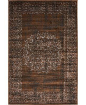 Linport Lin5 Chocolate Brown 4' x 6' Area Rug
