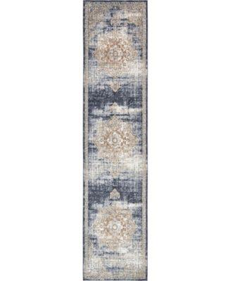 Odette Ode1 Dark Blue 3' x 13' Runner Area Rug