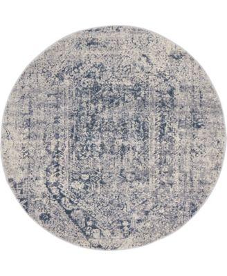 Odette Ode1 Gray 4' x 4' Round Area Rug
