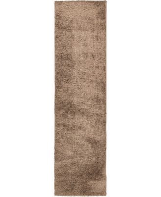"Salon Solid Shag Sss1 Brown 2' 7"" x 10' Runner Area Rug"