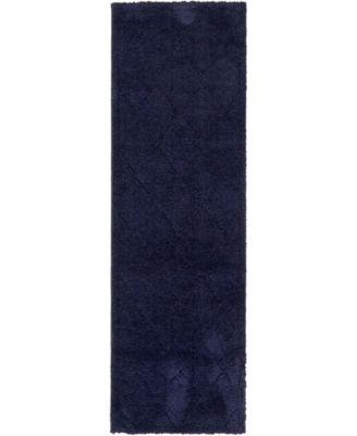 """Filigree Shag Fil1 Navy Blue 2' x 6' 7"""" Runner Area Rug"""