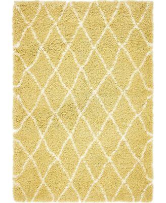 Fazil Shag Faz3 Yellow 4' x 6' Area Rug