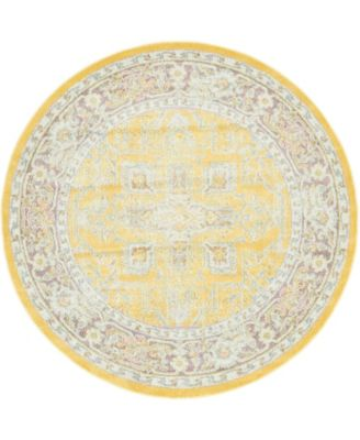 "Kenna Ken1 Yellow 5' 5"" x 5' 5"" Round Area Rug"