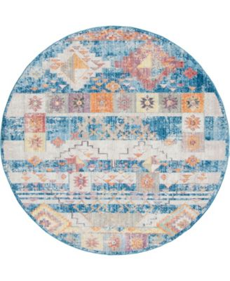 Nira Nir4 Blue 8' x 8' Round Area Rug