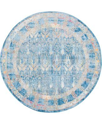 Zilla Zil2 Blue 6' x 6' Round Area Rug