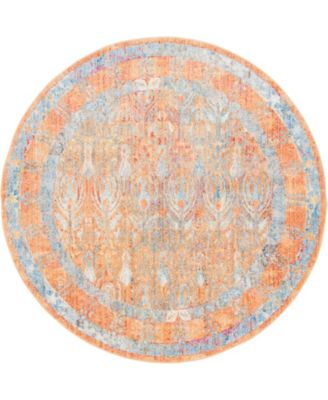 Zilla Zil2 Orange 6' x 6' Round Area Rug