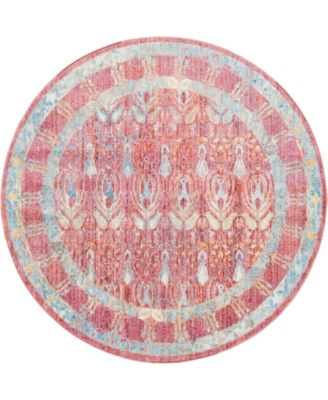 Zilla Zil2 Red 6' x 6' Round Area Rug