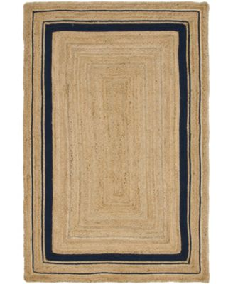 Braided Border Brb1 Natural/Navy 5' x 8' Area Rug