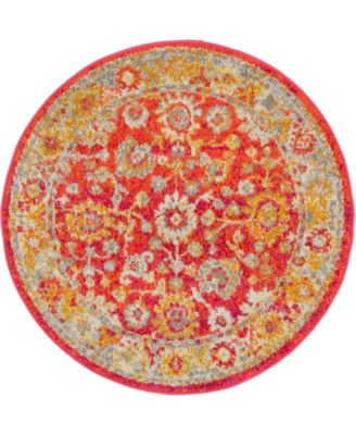 "Lorem Lor3 Red 3' 3"" x 3' 3"" Round Area Rug"