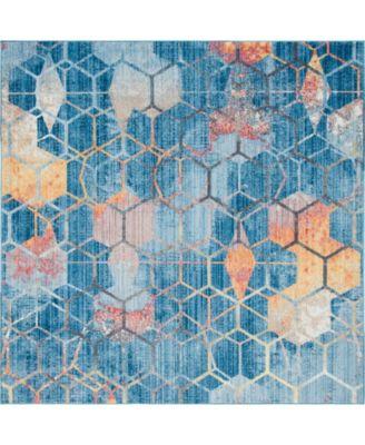 Prizem Shag Prz1 Blue 8' x 8' Square Area Rug