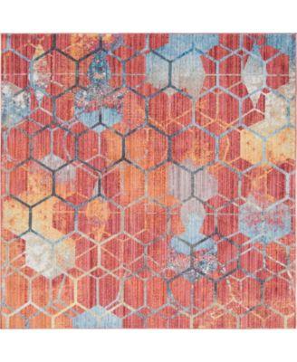 Prizem Shag Prz1 Red 8' x 8' Square Area Rug