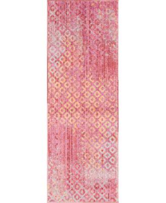 Prizem Shag Prz2 Pink 2' x 6' Runner Area Rug