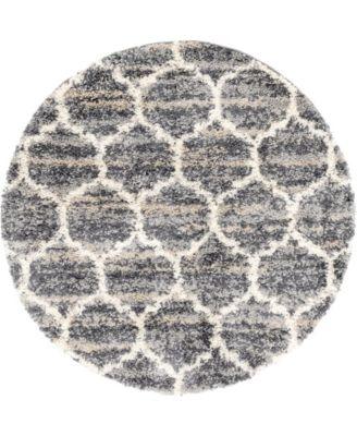 Lochcort Shag Loc1 Gray 5' x 5' Round Area Rug