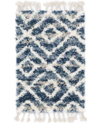 """Lochcort Shag Loc2 Blue 2' 2"""" x 3' Area Rug"""