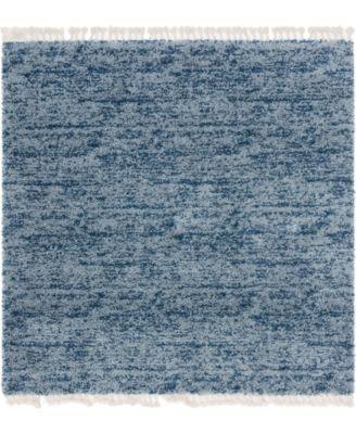 Lochcort Shag Loc3 Blue 8' x 8' Square Area Rug
