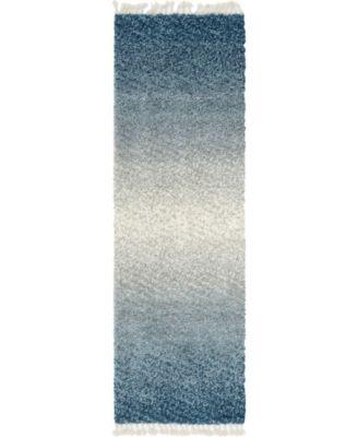 "Lochcort Shag Loc5 Blue 2' 7"" x 8' 2"" Runner Area Rug"