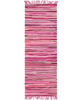 "Jari Striped Jar1 Pink 2' 7"" x 6' 7"" Runner Area Rug"