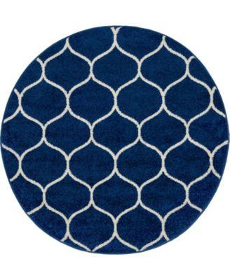 Plexity Plx2 Navy Blue 4' x 4' Round Area Rug