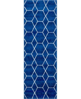 Plexity Plx1 Navy Blue 2' x 6' Runner Area Rug