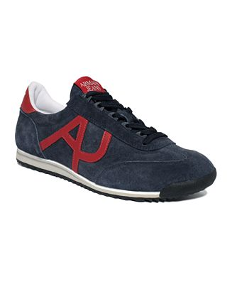 Armani Jeans Shoes, Washed Nubuck Logo Sneakers
