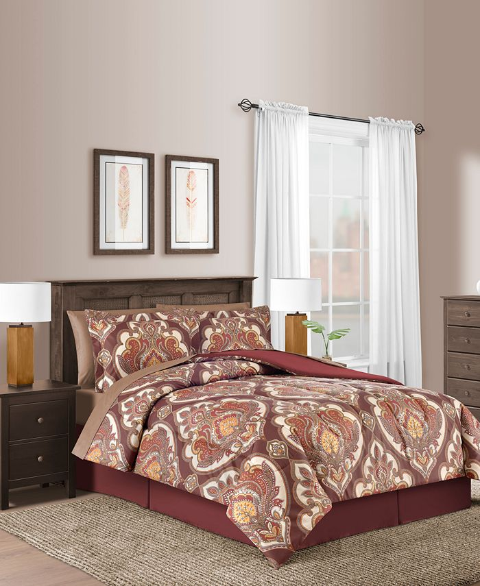 Fairfield Square Collection - Estelle Merlot 8-Pc. Comforter Sets