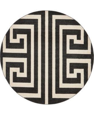 Anzu Anz1 Black 8' x 8' Round Area Rug