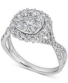 Diamond Halo Cluster Engagement Ring (1-1/4 ct t.w) in 14k White Gold
