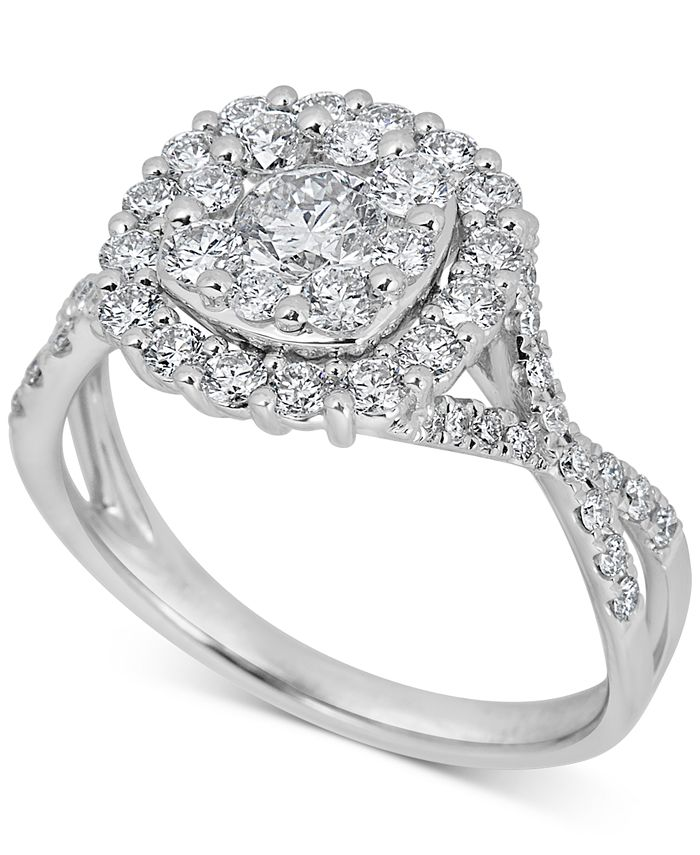 Macy's - Diamond Halo Cluster Engagement Ring (1-1/4 ct t.w) in 14k White Gold