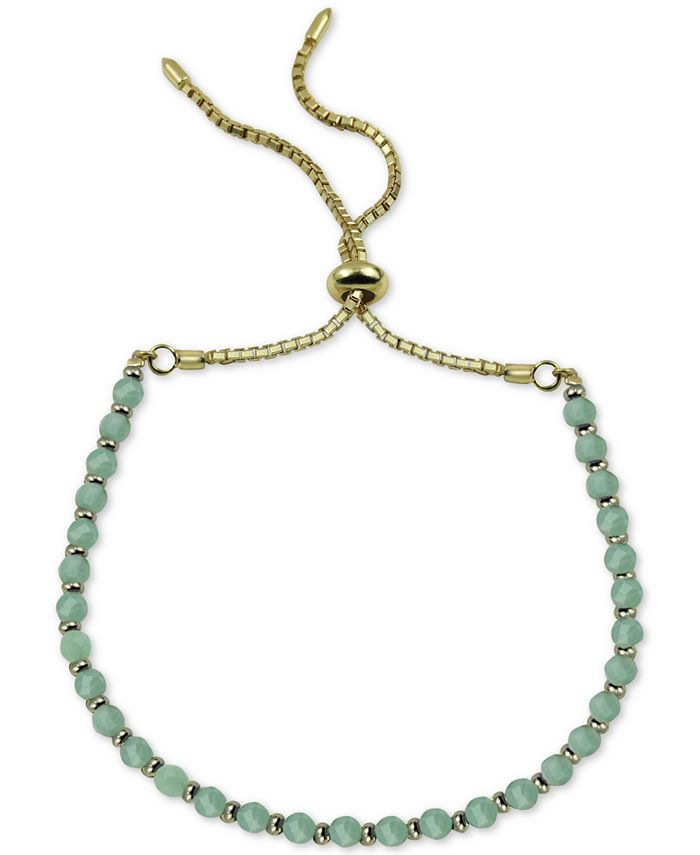 Argento Vivo - Aqua Chalcedony Bolo Bracelet in Gold-Plated Sterling Silver (Also in Onyx)