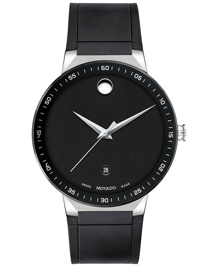 Movado - Men's Swiss Sapphire Black Rubber Strap Watch 41mm