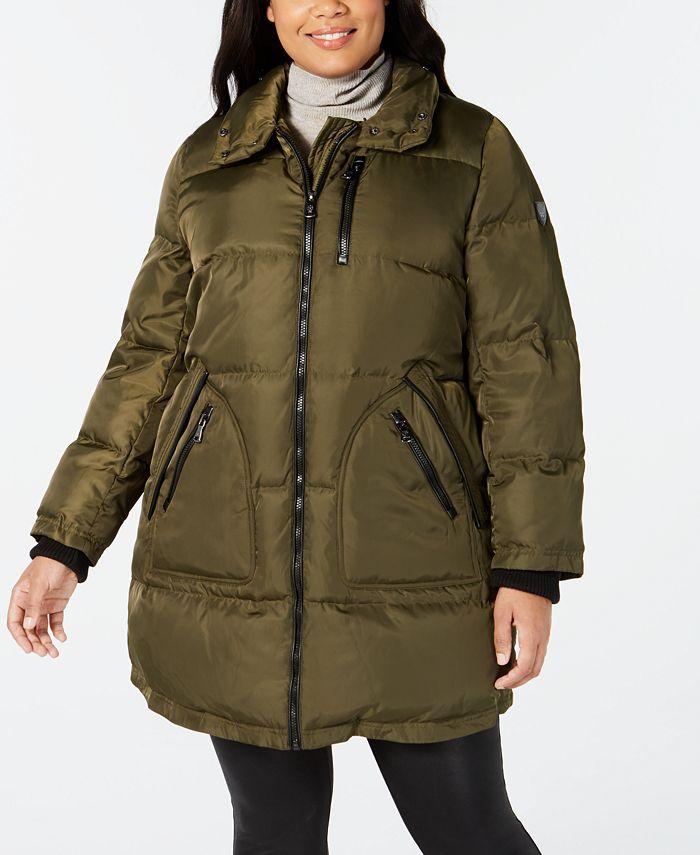 Vince Camuto - Plus Size Faux-Fur-Trim Puffer Coat