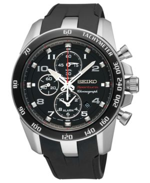 Seiko Watch, Men's Chronograph Sportura Black Polyurethane Strap 42mm SNAE87