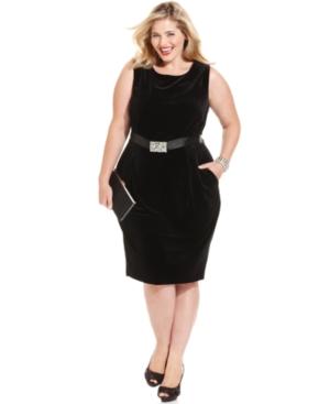 Alex Evenings Plus Size Dress, Sleeveless Belted Velvet Sheath