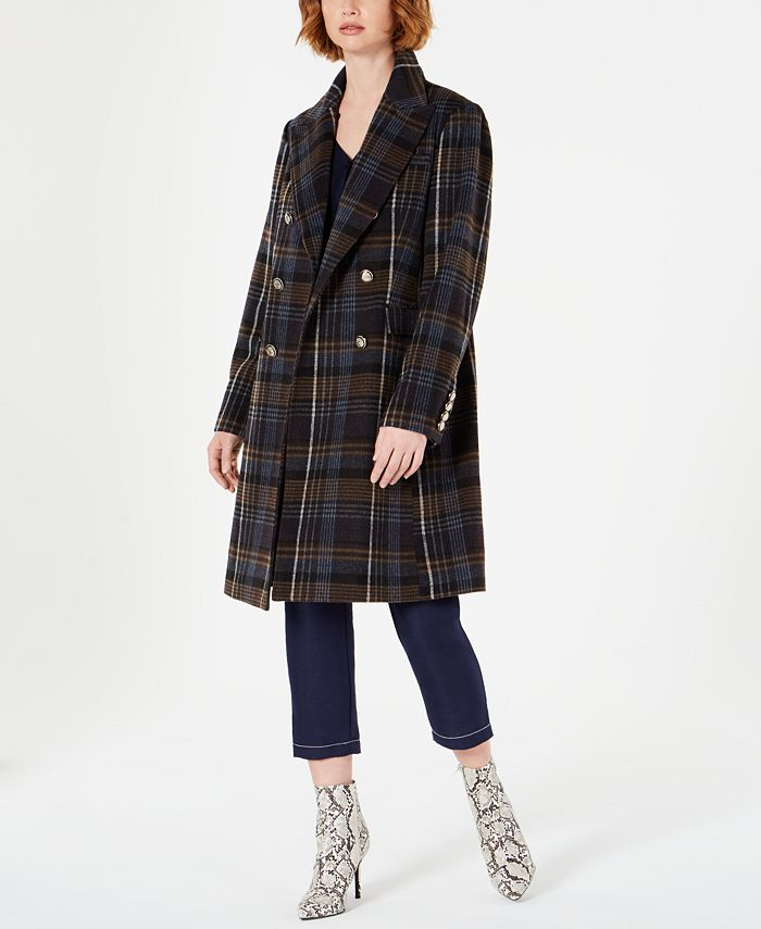 Vince Camuto - Double-Breasted Plaid Coat with Faux-Fur-Collar