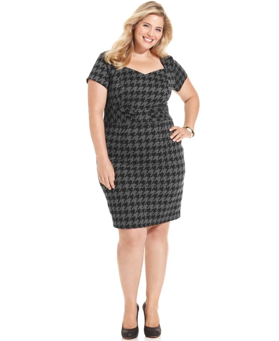 AGB Plus Size Dress, Short Sleeve Houndstooth Sheath