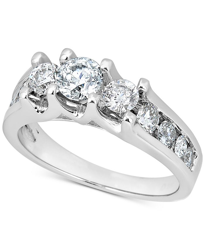 Macy's - Diamond Three-Stone Channel-Set Engagement Ring (1-1/2 ct. t.w.) in 14k White Gold