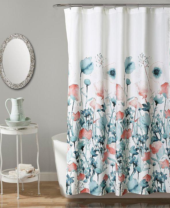 """Lush Decor Zuri Flora 72"""" x 72"""" Shower Curtain"""