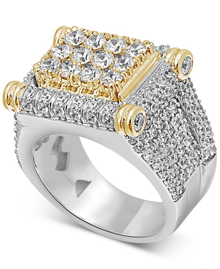 Macy's - Men's Diamond Two-Tone Statement Ring (4-3/4 ct. t.w.) in 10k Gold & White Gold