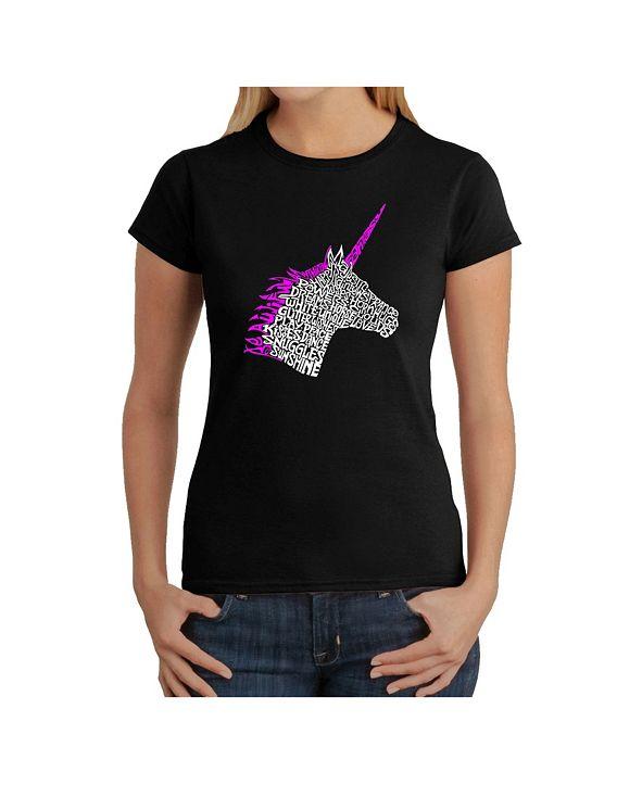 LA Pop Art Women's Word Art T-Shirt - Unicorn