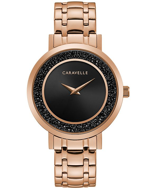 Caravelle Women's Rose Gold-Tone Stainless Steel Bracelet Watch 36mm
