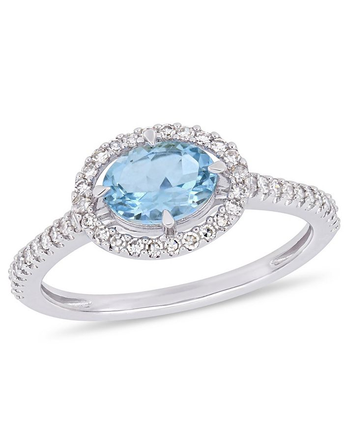Macy's - Aquamarine (5/8 ct.t.w.) and Diamond (1/4 ct.t.w.) Halo Ring in 10k White Gold